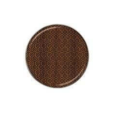 Hexagon1 Black Marble & Brown Wood (r) Hat Clip Ball Marker by trendistuff