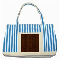Hexagon1 Black Marble & Brown Wood (r) Striped Blue Tote Bag by trendistuff