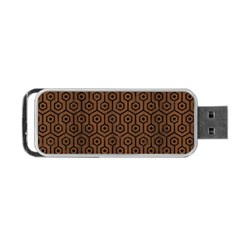Hexagon1 Black Marble & Brown Wood (r) Portable Usb Flash (two Sides) by trendistuff