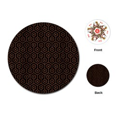 Hexagon1 Black Marble & Brown Wood Playing Cards (round) by trendistuff
