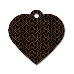 Hexagon1 Black Marble & Brown Wood Dog Tag Heart (one Side) by trendistuff