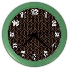 Hexagon1 Black Marble & Brown Wood Color Wall Clock by trendistuff
