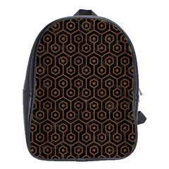 Hexagon1 Black Marble & Brown Wood School Bag (xl) by trendistuff