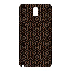 Hexagon1 Black Marble & Brown Wood Samsung Galaxy Note 3 N9005 Hardshell Back Case by trendistuff