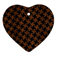 Houndstooth2 Black Marble & Brown Wood Heart Ornament (two Sides) by trendistuff