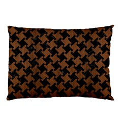 Houndstooth2 Black Marble & Brown Wood Pillow Case by trendistuff