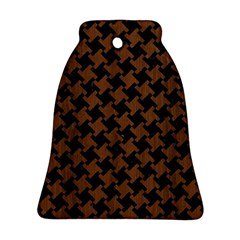 Houndstooth2 Black Marble & Brown Wood Bell Ornament (two Sides) by trendistuff