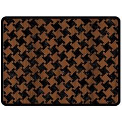 Houndstooth2 Black Marble & Brown Wood Double Sided Fleece Blanket (large) by trendistuff