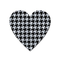 Houndstooth1 Black Marble & Brown Wood Magnet (heart) by trendistuff