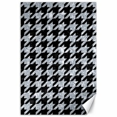 Houndstooth1 Black Marble & Brown Wood Canvas 24  X 36  by trendistuff
