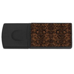 Damask2 Black Marble & Brown Wood (r) Usb Flash Drive Rectangular (4 Gb) by trendistuff