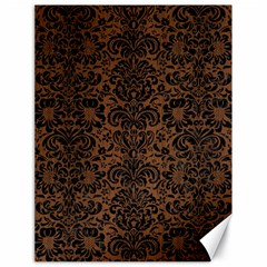 Damask2 Black Marble & Brown Wood (r) Canvas 18  X 24  by trendistuff