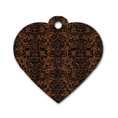 Damask2 Black Marble & Brown Wood (r) Dog Tag Heart (two Sides) by trendistuff