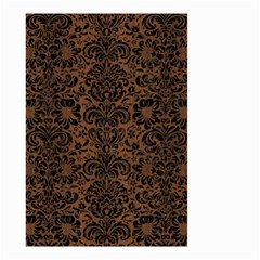 Damask2 Black Marble & Brown Wood (r) Small Garden Flag (two Sides) by trendistuff
