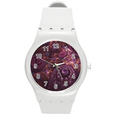 Buried Pirate Treasure Of Fractal Pearls And Coins Round Plastic Sport Watch (m) by beautifulfractals