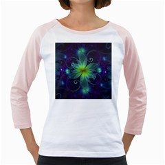 Blue And Green Fractal Flower Of A Stargazer Lily Girly Raglans by jayaprime