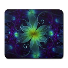 Blue And Green Fractal Flower Of A Stargazer Lily Large Mousepads by jayaprime