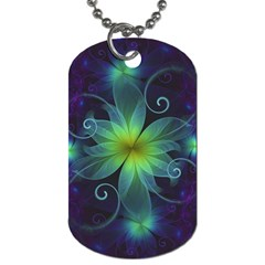 Blue And Green Fractal Flower Of A Stargazer Lily Dog Tag (one Side) by jayaprime