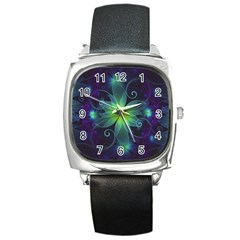 Blue And Green Fractal Flower Of A Stargazer Lily Square Metal Watch by jayaprime