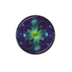 Blue And Green Fractal Flower Of A Stargazer Lily Hat Clip Ball Marker (4 Pack) by beautifulfractals