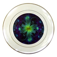 Blue And Green Fractal Flower Of A Stargazer Lily Porcelain Plates by jayaprime