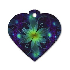 Blue And Green Fractal Flower Of A Stargazer Lily Dog Tag Heart (one Side) by jayaprime