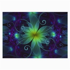 Blue And Green Fractal Flower Of A Stargazer Lily Large Glasses Cloth by jayaprime