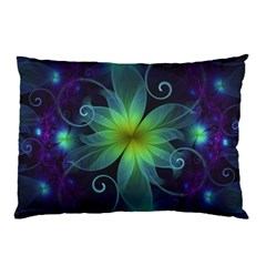 Blue And Green Fractal Flower Of A Stargazer Lily Pillow Case by jayaprime