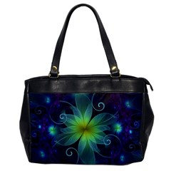 Blue And Green Fractal Flower Of A Stargazer Lily Office Handbags by jayaprime
