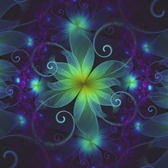 Blue And Green Fractal Flower Of A Stargazer Lily Magic Photo Cubes by beautifulfractals