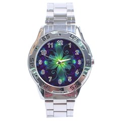 Blue And Green Fractal Flower Of A Stargazer Lily Stainless Steel Analogue Watch by jayaprime
