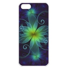 Blue And Green Fractal Flower Of A Stargazer Lily Apple Iphone 5 Seamless Case (white) by beautifulfractals