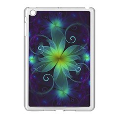 Blue And Green Fractal Flower Of A Stargazer Lily Apple Ipad Mini Case (white) by beautifulfractals