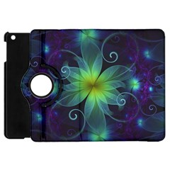Blue And Green Fractal Flower Of A Stargazer Lily Apple Ipad Mini Flip 360 Case by jayaprime