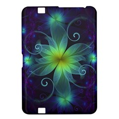 Blue And Green Fractal Flower Of A Stargazer Lily Kindle Fire Hd 8 9  by jayaprime
