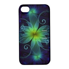 Blue And Green Fractal Flower Of A Stargazer Lily Apple Iphone 4/4s Hardshell Case With Stand by jayaprime