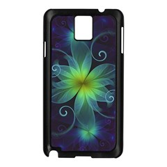 Blue And Green Fractal Flower Of A Stargazer Lily Samsung Galaxy Note 3 N9005 Case (black) by beautifulfractals