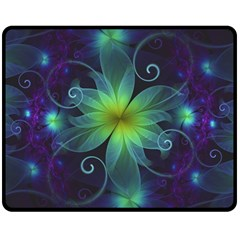Blue And Green Fractal Flower Of A Stargazer Lily Double Sided Fleece Blanket (medium)  by jayaprime