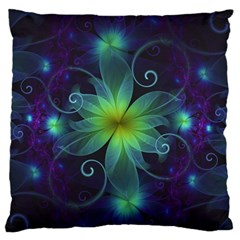 Blue And Green Fractal Flower Of A Stargazer Lily Large Flano Cushion Case (two Sides) by beautifulfractals