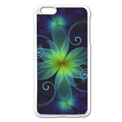 Blue And Green Fractal Flower Of A Stargazer Lily Apple Iphone 6 Plus/6s Plus Enamel White Case by jayaprime