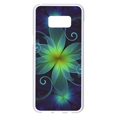 Blue And Green Fractal Flower Of A Stargazer Lily Samsung Galaxy S8 Plus White Seamless Case by beautifulfractals