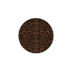 Damask2 Black Marble & Brown Wood Golf Ball Marker (4 Pack)
