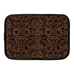 Damask2 Black Marble & Brown Wood Netbook Case (medium) by trendistuff