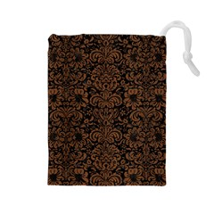 Damask2 Black Marble & Brown Wood Drawstring Pouch (large)