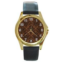 Damask1 Black Marble & Brown Wood (r) Round Gold Metal Watch by trendistuff