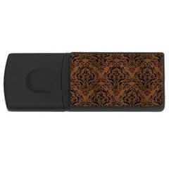 Damask1 Black Marble & Brown Wood (r) Usb Flash Drive Rectangular (4 Gb) by trendistuff