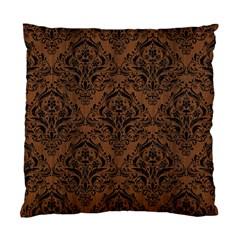 Damask1 Black Marble & Brown Wood (r) Standard Cushion Case (one Side) by trendistuff
