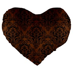 Damask1 Black Marble & Brown Wood (r) Large 19  Premium Flano Heart Shape Cushion by trendistuff