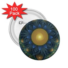 Beautiful Orange & Blue Fractal Sunflower Of Egypt 2 25  Buttons (100 Pack)  by beautifulfractals
