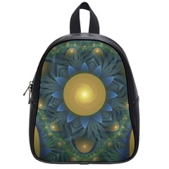 Beautiful Orange & Blue Fractal Sunflower Of Egypt School Bags (small)  by jayaprime